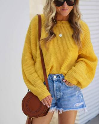 sweater tumblr yellow yellow sweater oversized sweater oversized bag brown bag denim denim shorts necklace