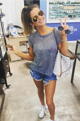 bag shoes top sunglasses denim shorts ponytail jojo fletcher