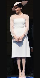 dress,white,white dress,hat,pumps,midi dress,meghan markle