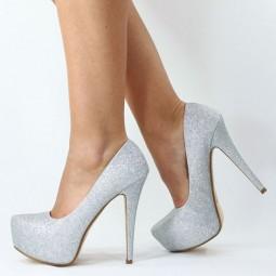 14 cm high heels glitzer pumps silber b6028 pumps. Black Bedroom Furniture Sets. Home Design Ideas