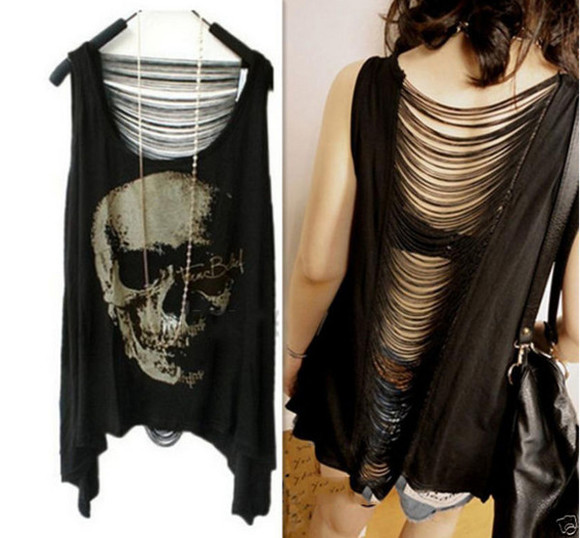tank top skull ripped harajuku fashion
