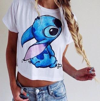 top white top blue shirt shirt t-shirt lilo and stitch lilo&stitch stitch style fashion