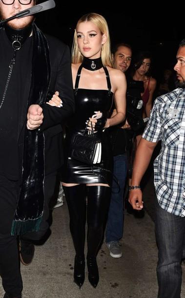 dress black dress mini dress bodycon dress all black everything nicola peltz jewels