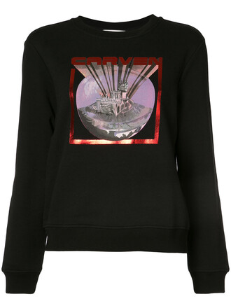 sweatshirt women rave cotton black sweater
