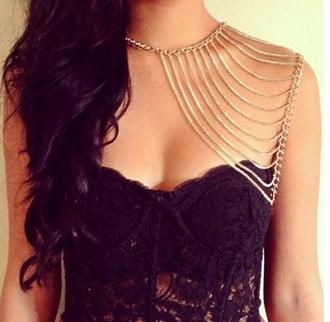 lace top gold chain gorgeous black black lace black lace bustier corset top chian sleeve