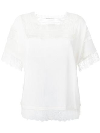 blouse women lace nude silk top