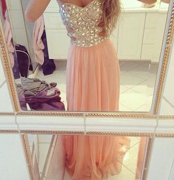 Crystal bead sequins sweetheart neckline long formal evening dresses