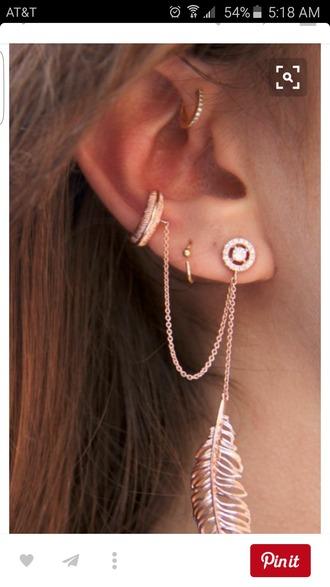 jewels boho jewelry jewelry feathers feather earrings earrings ear cuff chain boho boho chic bohemian