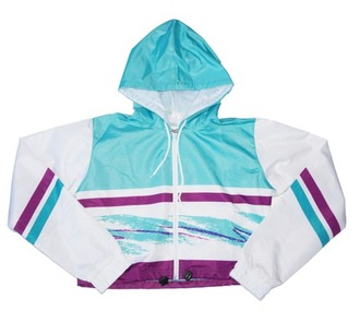 jacket crop tops cropped jacket windbreaker crop windbreaker 90s style movie theater cup old squiggly line purple and blue