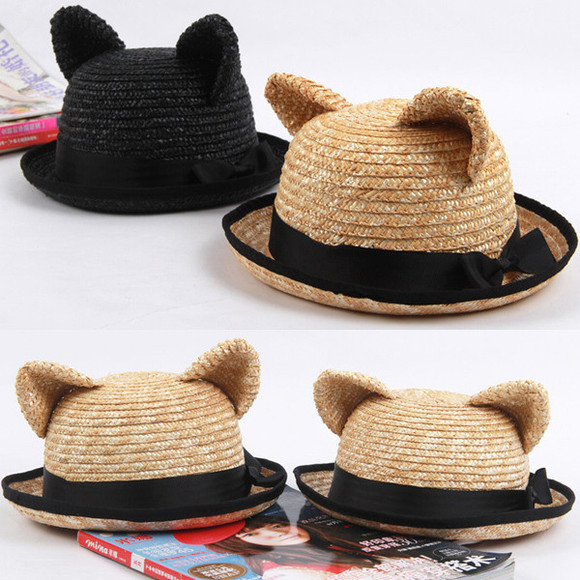 cats straw hat cute hat summer outfits