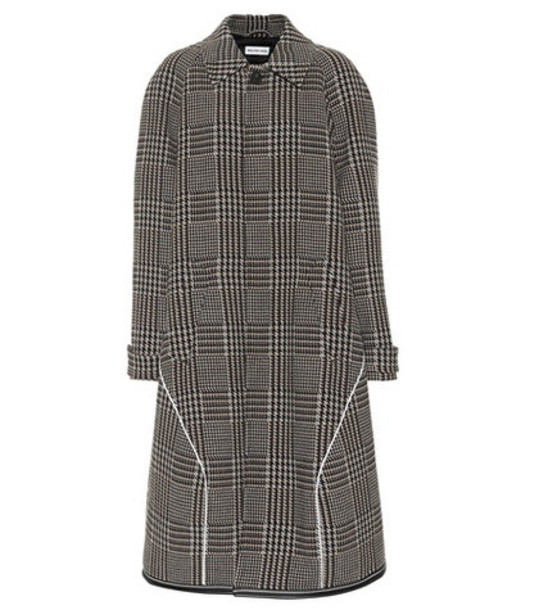 Balenciaga Houndstooth wool-blend coat in brown