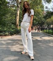 pants,white pants,wide-leg pants,high waisted pants,sneakers,white t-shirt,round sunglasses