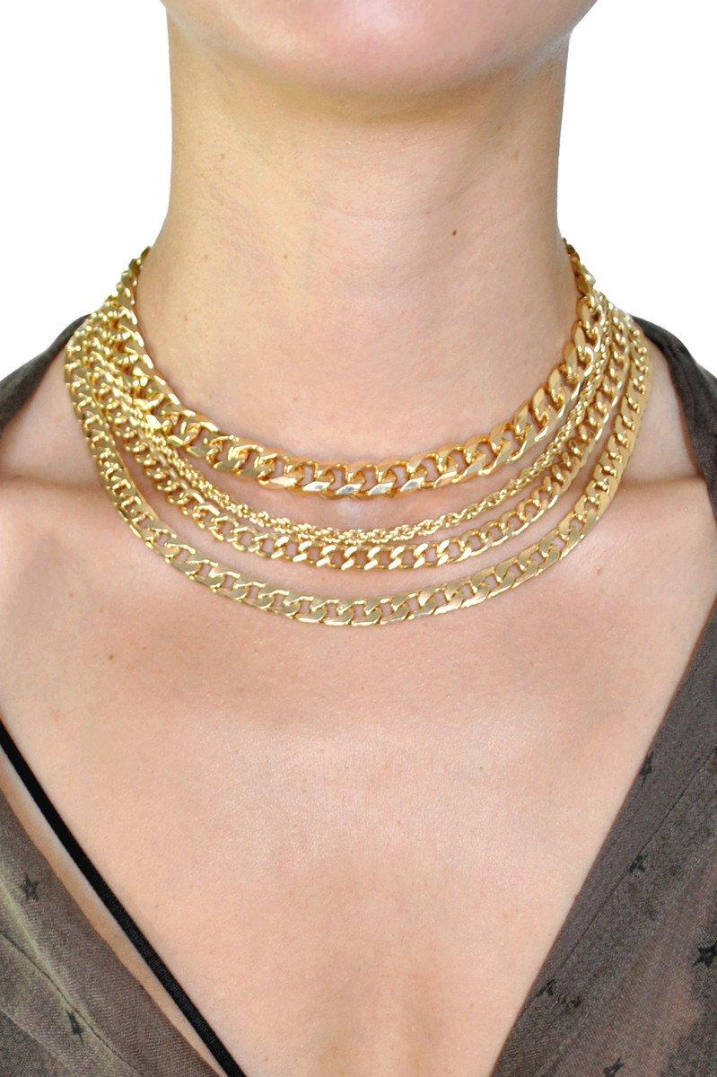 Layered Gold Chain Choker Necklace