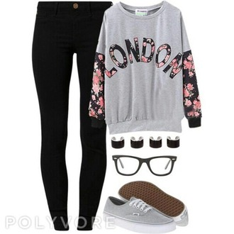 t-shirt london sweter long sleeves black jeans