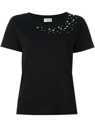t-shirt shirt embellished black top