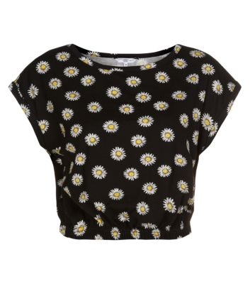 Black Daisy Print Roll Sleeve Crop T-Shirt