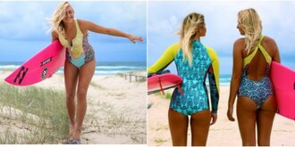 swimwear billabong surf girl bright colored zip