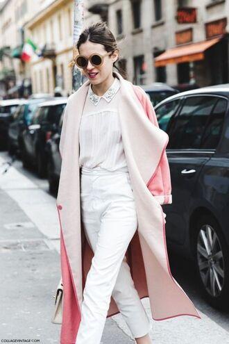 sunglasses white shirt white trousers pink coat blogger round sunglasses