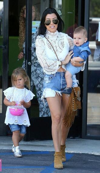 shorts top denim denim shorts kourtney kardashian blouse lace ankle boots