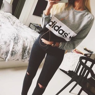 adidas black jeans grey sweater adidas sweater jacket jumper black grey tumblr sweater top