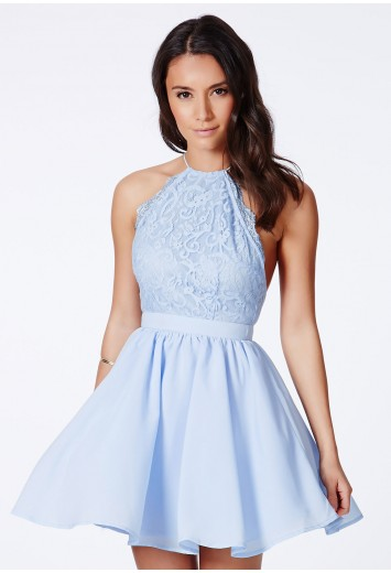 Desaree blue cross back lace detail puffball mini dress