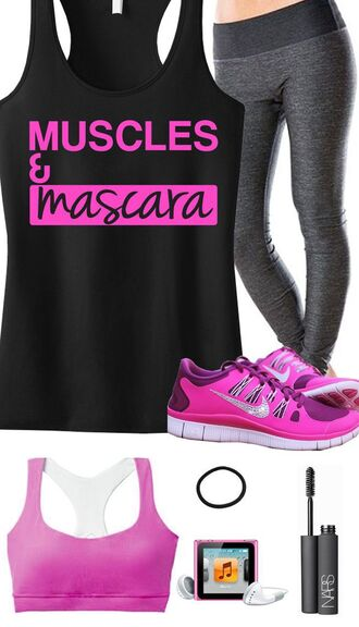 tank top bra pink mascara gym workout outfit fitness