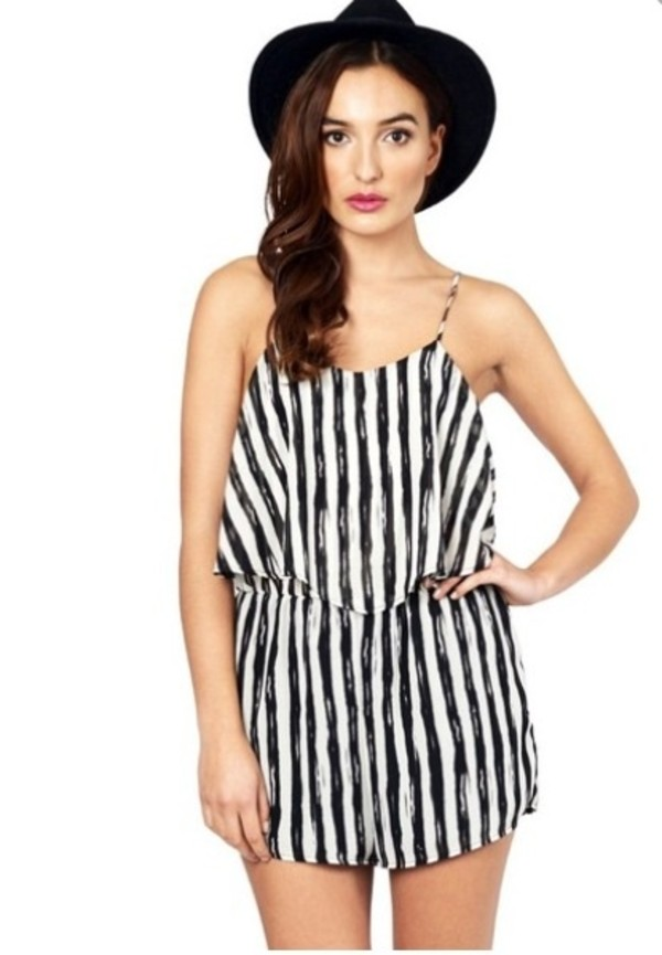 dress romper black and white