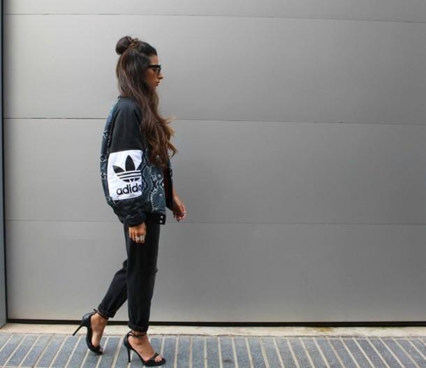 style by nelli blogger urban adidas bomber jacket black jacket