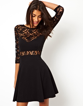 ASOS | ASOS Lace Panel Skater Dress at ASOS