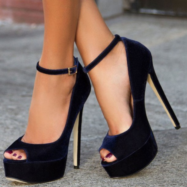 fa0f4a1d4f3 shoes fsjshoes blue black fashion trendy style strappy high heels ankle boots  ankle strap ankle strap