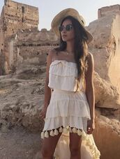 skirt,top,two-piece,shay mitchell,instagram,crop tops,summer outfits,summer top,strapless,asymmetrical skirt