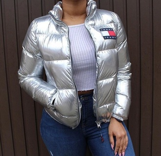 jacket puffer jacket metallic grijs
