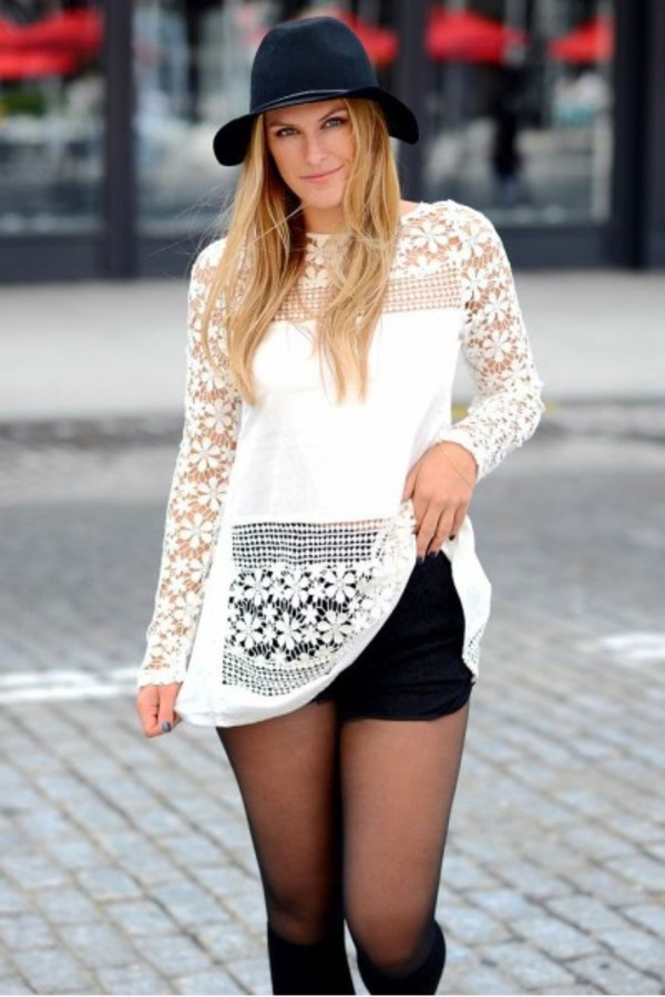 blouse shirt lace crochet white outfit look of the day look ootd es closet fblogger fashion blog fashion blogger fashion bloggers