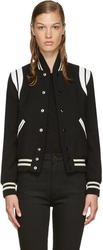 jacket bomber jacket black wool