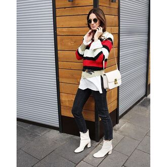 sweater tumblr stripes striped sweater bag white bag jeans black jeans boots white boots mid heel boots sunglasses winter outfits winter look french girl style