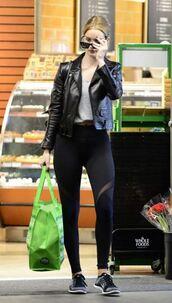 leggings,top,jacket,rosie huntington-whiteley,sneakers,streetstyle,model off-duty