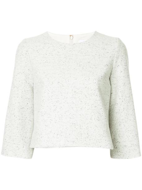 Estnation jumper cropped women silk wool grey sweater