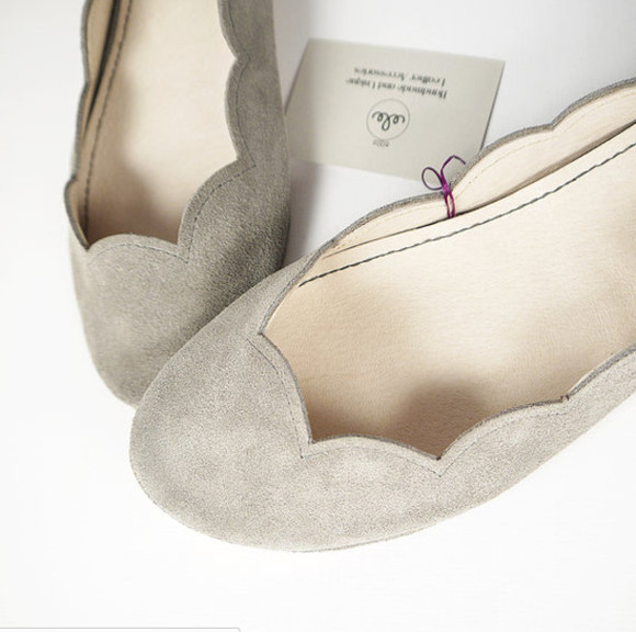 scalloped shoes grey soft suede handmade flats ballet flats