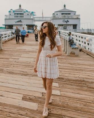 dress white dress short sleeve shoes sneakers sunglasses mini dress lace dress