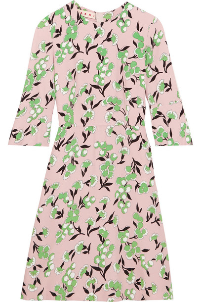 dress floral print pastel pink green pastel pink