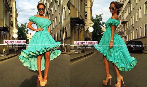 ruffles polka dots dress dress high-low dresses summer dress off shoulder dress ruffles dress