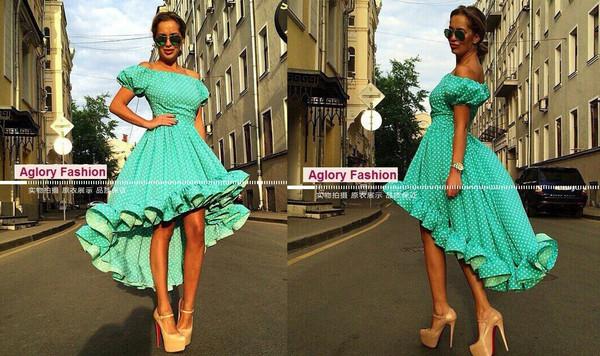 dress high-low dresses summer dress off the shoulder dress ruffle ruffle aliexpress polka dots off the shoulder dress