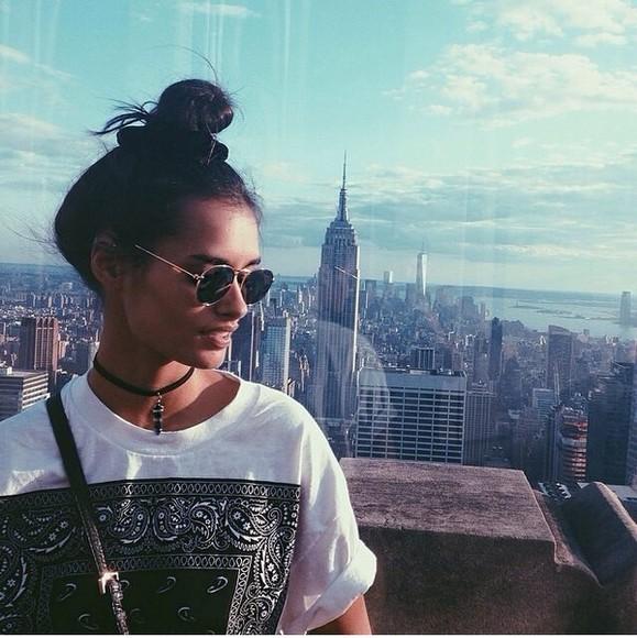 t-shirt new york city bandana print black and white dress