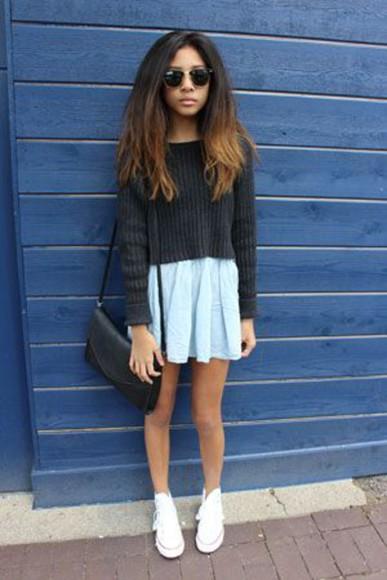 skirt black black top hipster denim denim skirt mini skirt glasses white sneakers casual