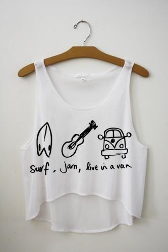 Surf, jam, live in a van crop top