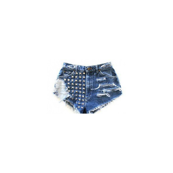 distressed and studded high waisted levi shorts - Levi's - Polyvore