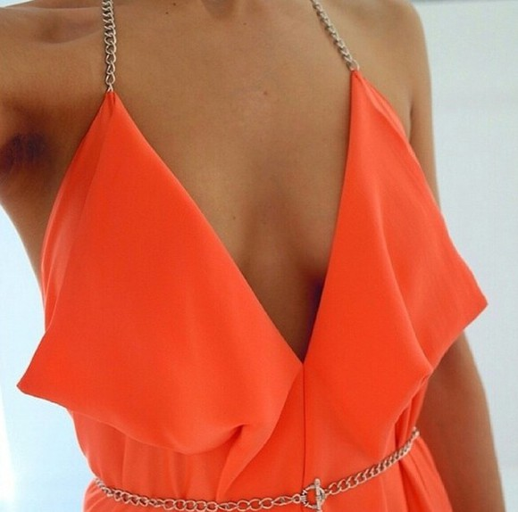 coral dress orange plunge chain deep v neck dress Orange dress halterneck dress