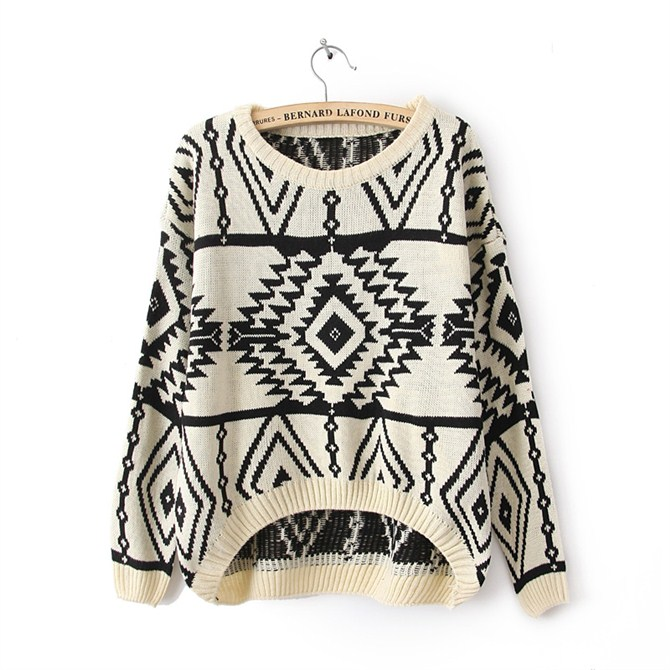 pullover o neck sweater Geometric Knitted loose plaid sweater ...