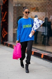 sweater,shanina shaik,model off-duty,streetstyle,fall outfits,pants