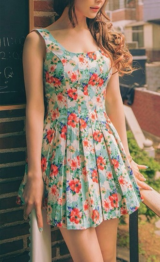 dress floral dress red blue flower bohemia vintage classy